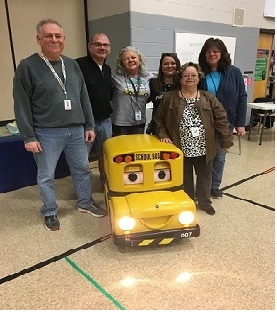 Bus Drivers help Buster teach School Bus Safety